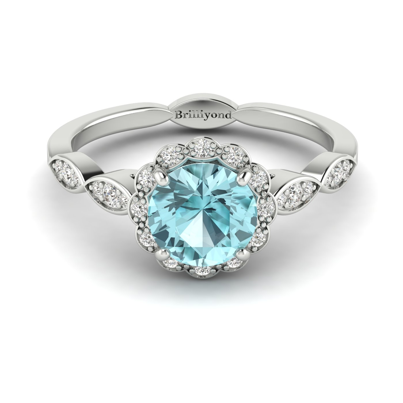 Aquamarine White Gold Halo Engagement Ring Floral Crown_image1