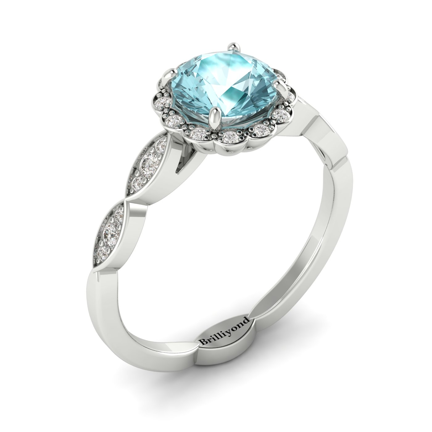 Aquamarine White Gold Halo Engagement Ring Floral Crown_image2