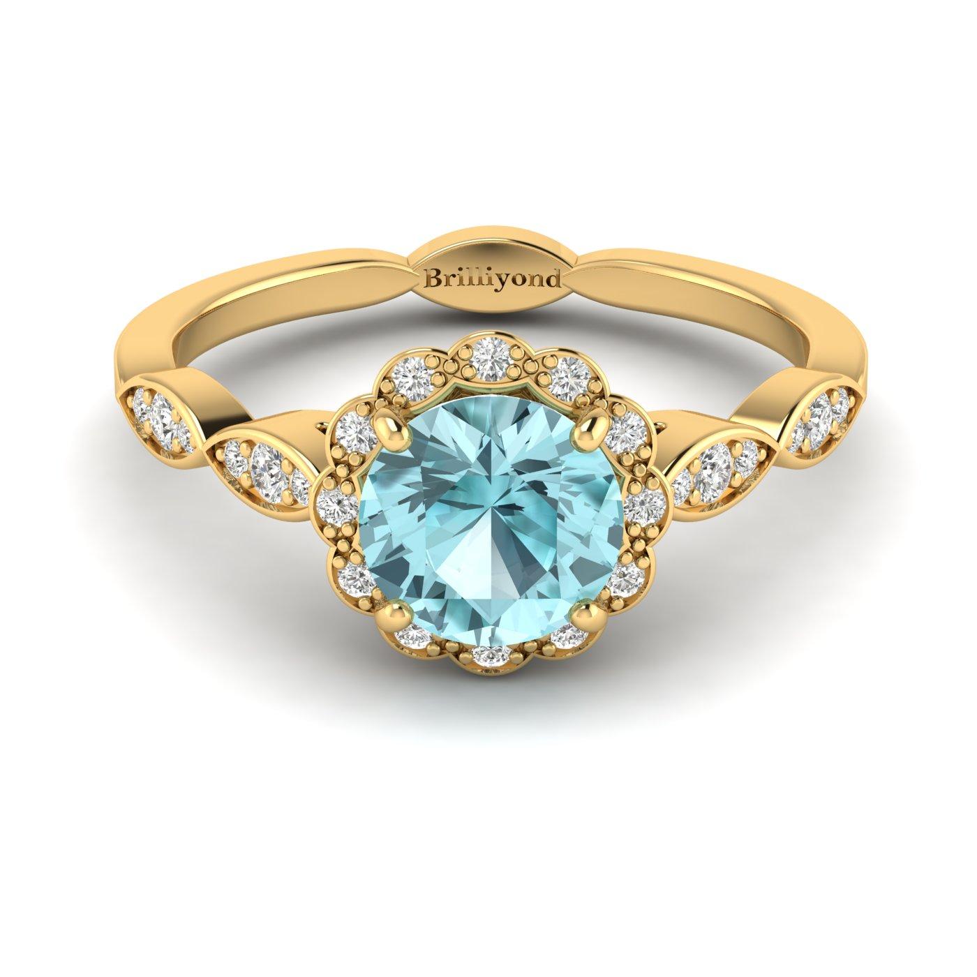 Aquamarine Yellow Gold Halo Engagement Ring Floral Crown_image1