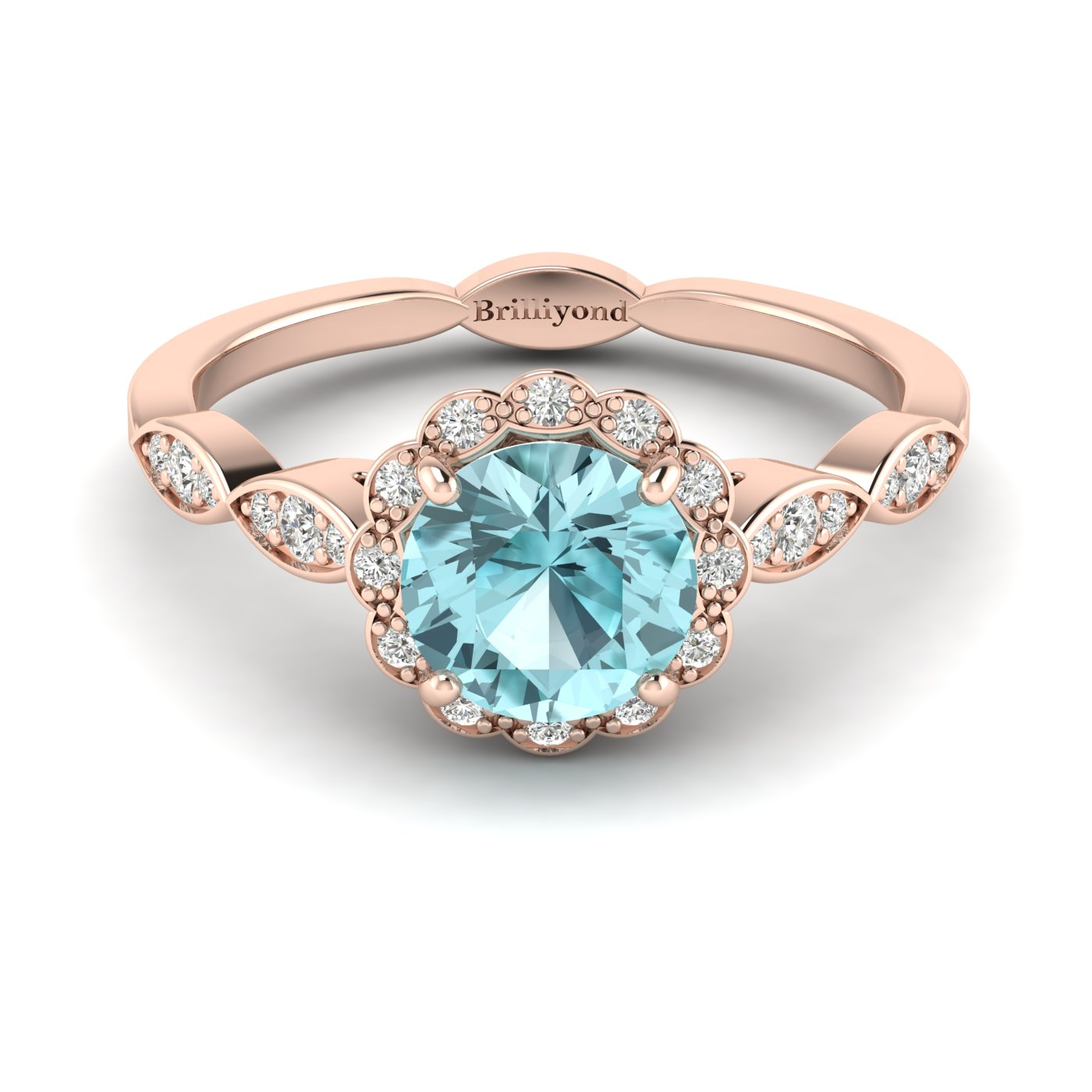 Aquamarine Rose Gold Halo Engagement Ring Floral Crown_image1