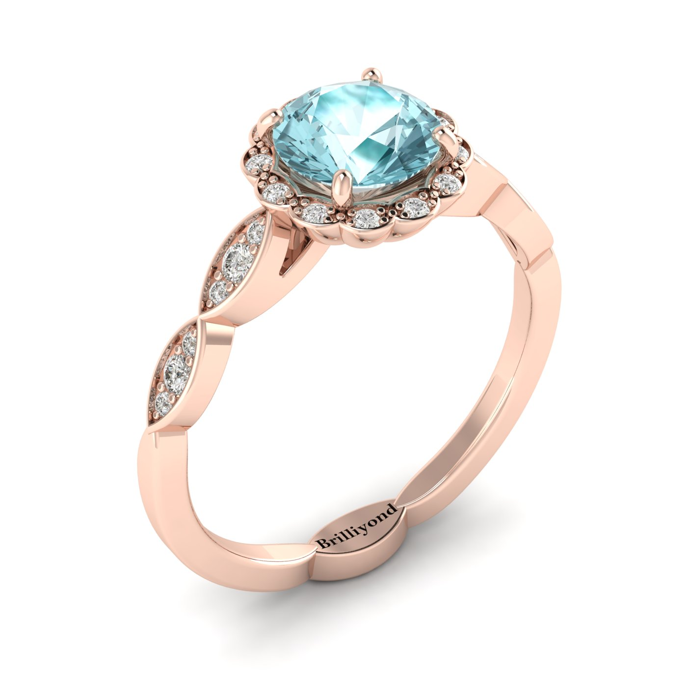 Aquamarine Rose Gold Halo Engagement Ring Floral Crown_image2