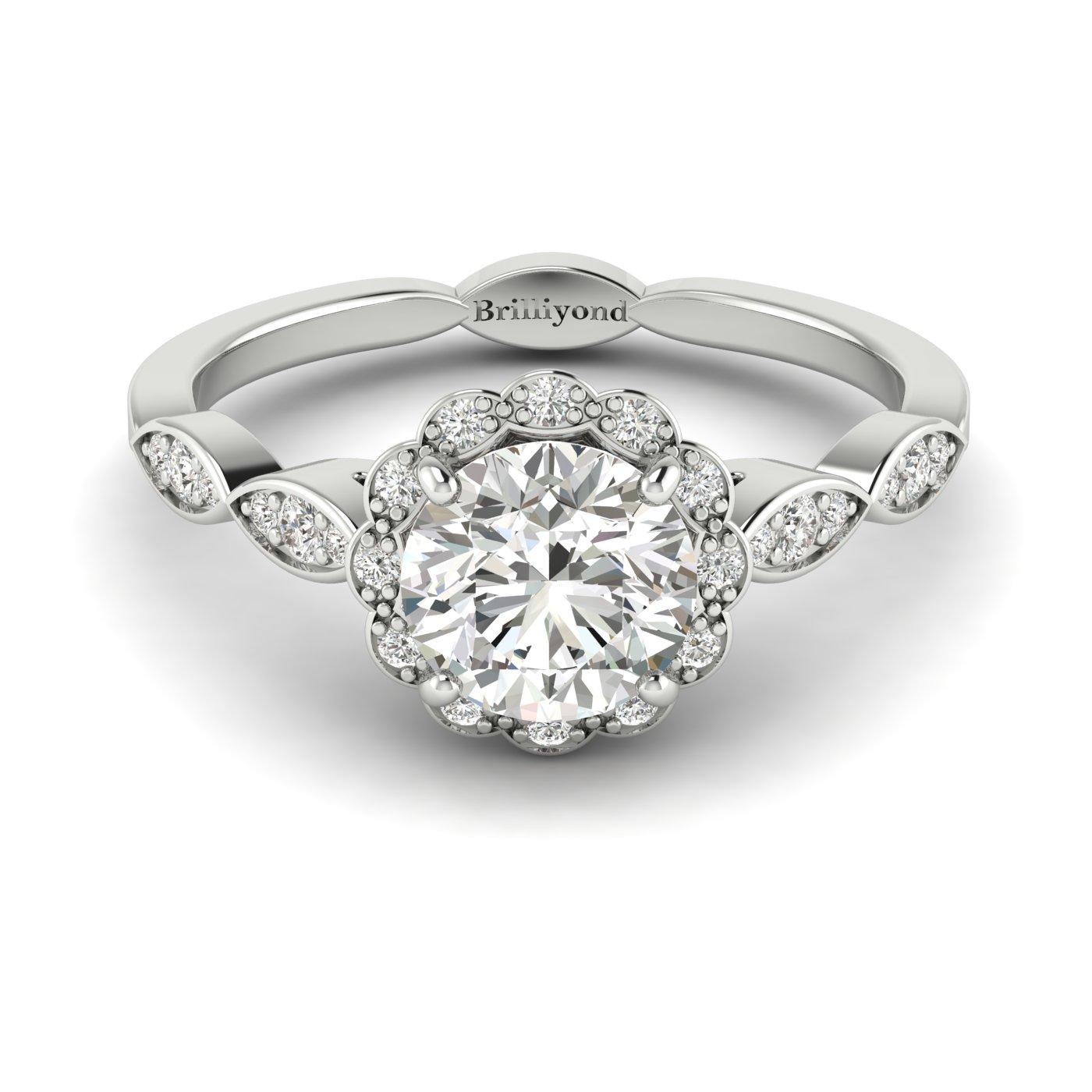 Diamond Platinum Halo Engagement Ring Floral Crown