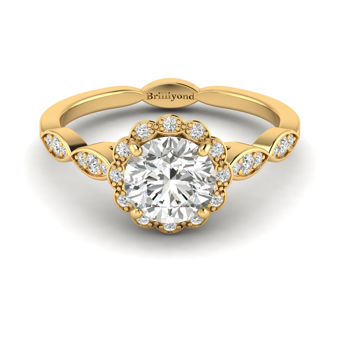 Diamond Yellow Gold Halo Engagement Ring Floral Crown_image1