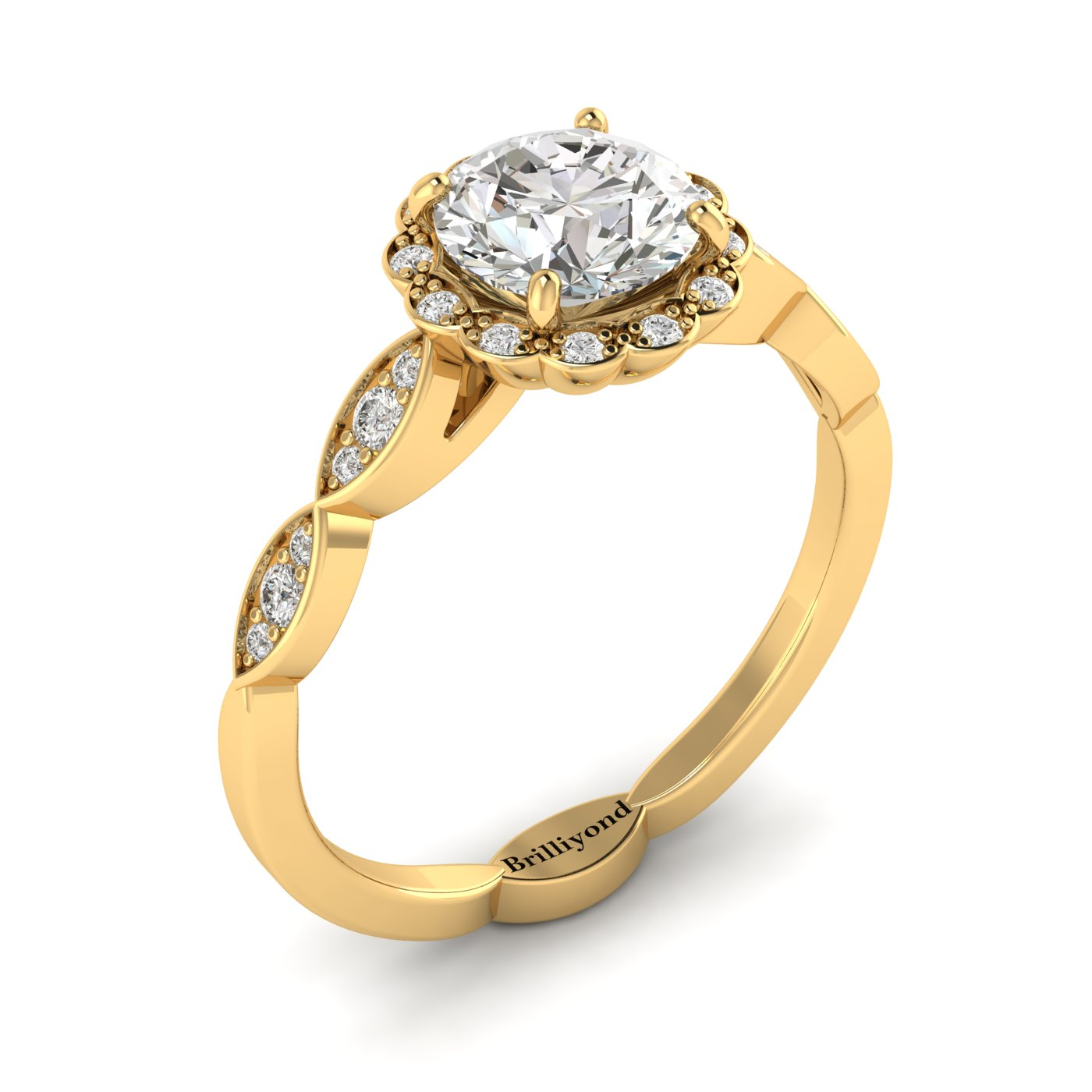 Diamond Yellow Gold Halo Engagement Ring Floral Crown_image2