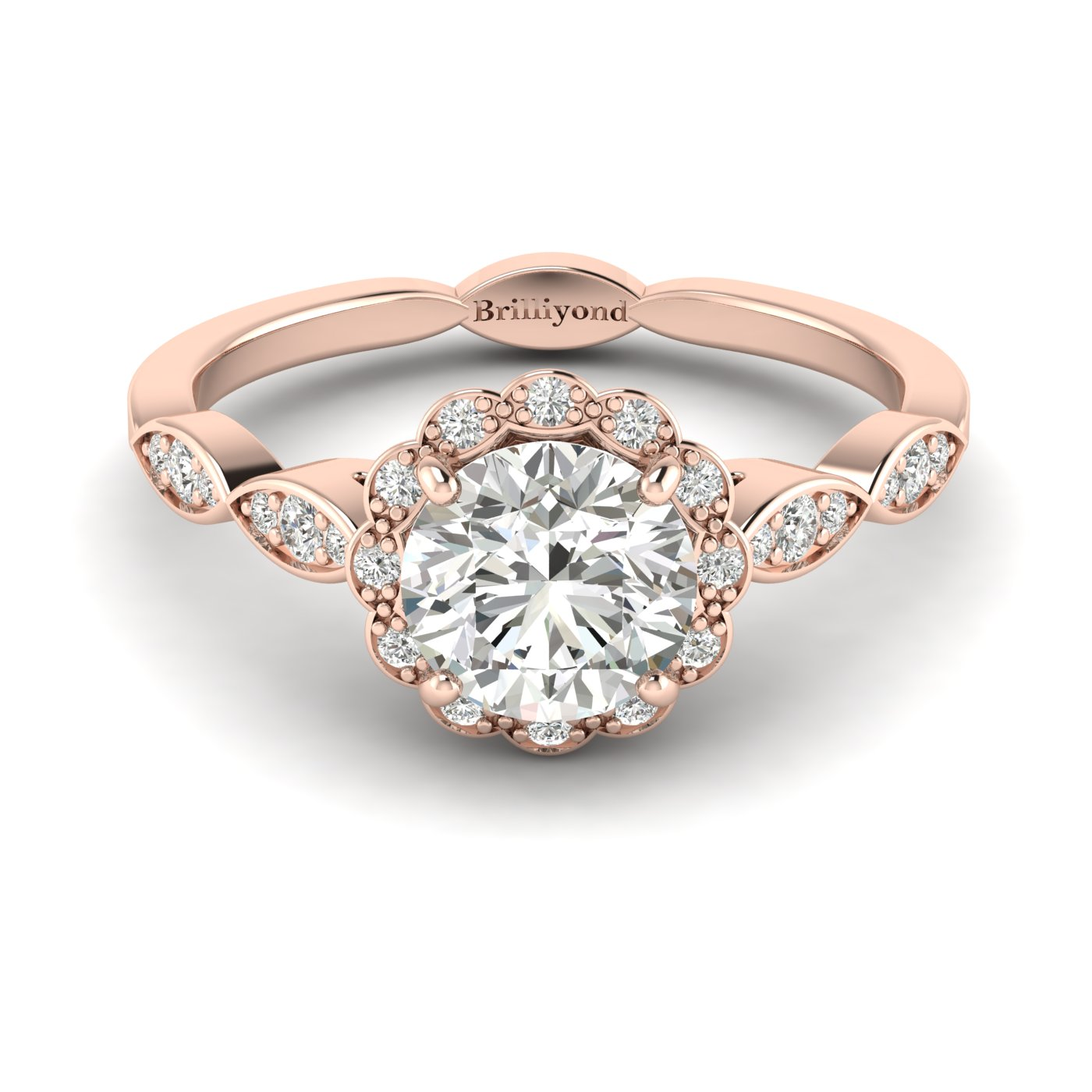 Diamond Rose Gold Halo Engagement Ring Floral Crown