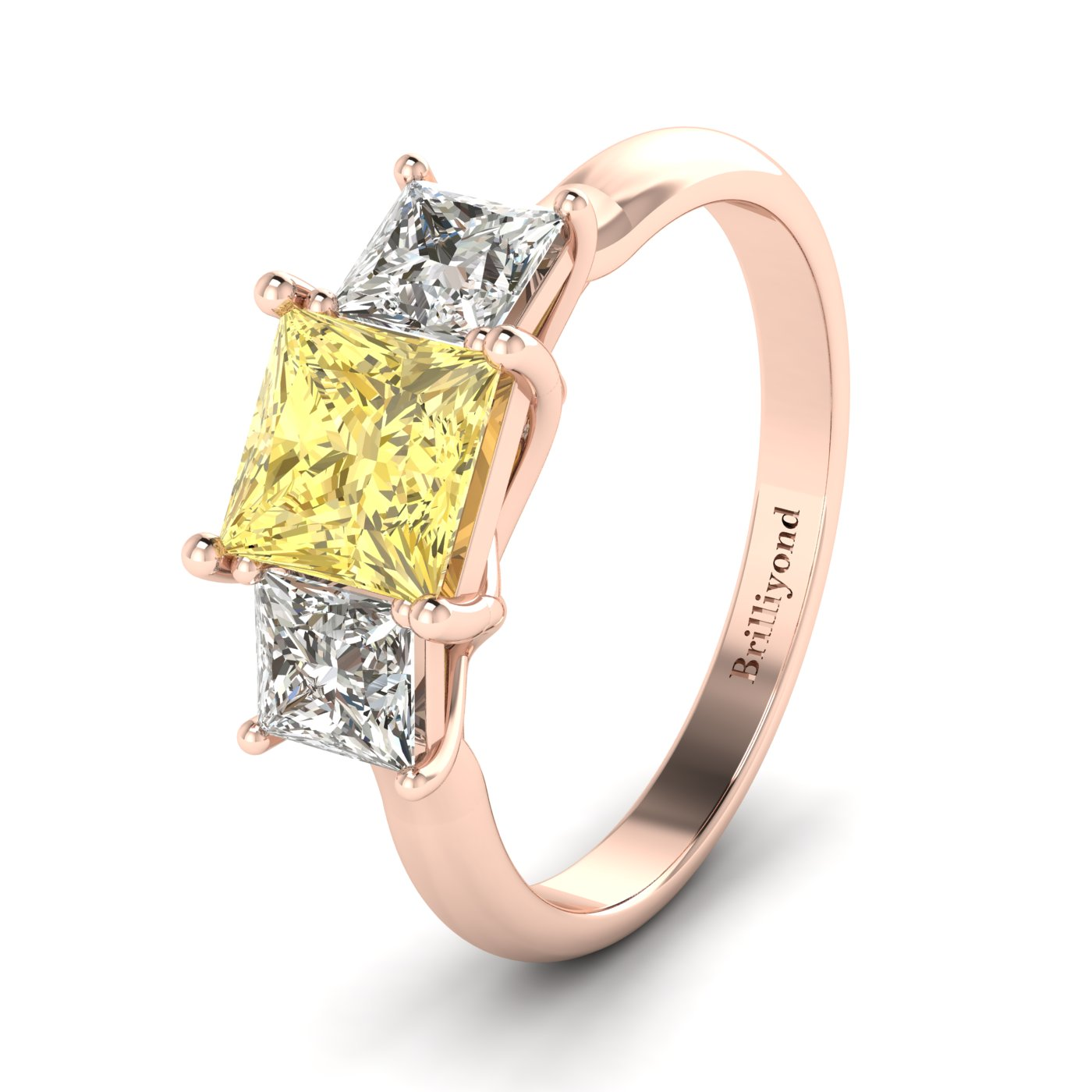 Yellow Sapphire Rose Gold Princess Cut Engagement Ring Capri_image1