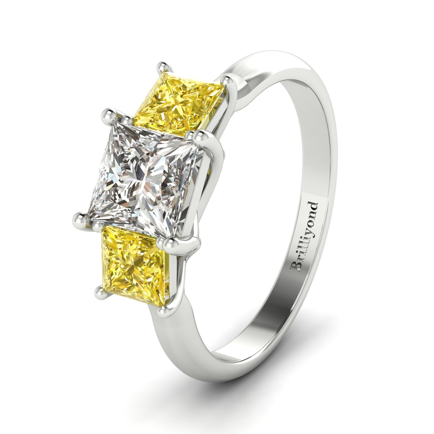 White Sapphire White Gold Princess Cut Engagement Ring Capri_image2