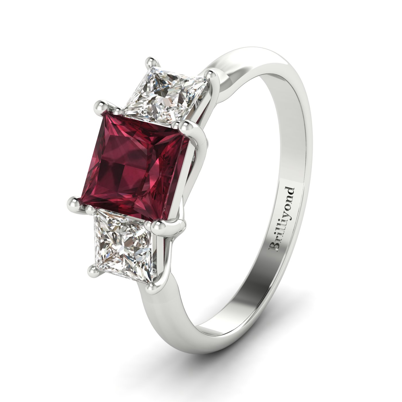 Garnet White Gold Princess Cut Engagement Ring Capri_image1