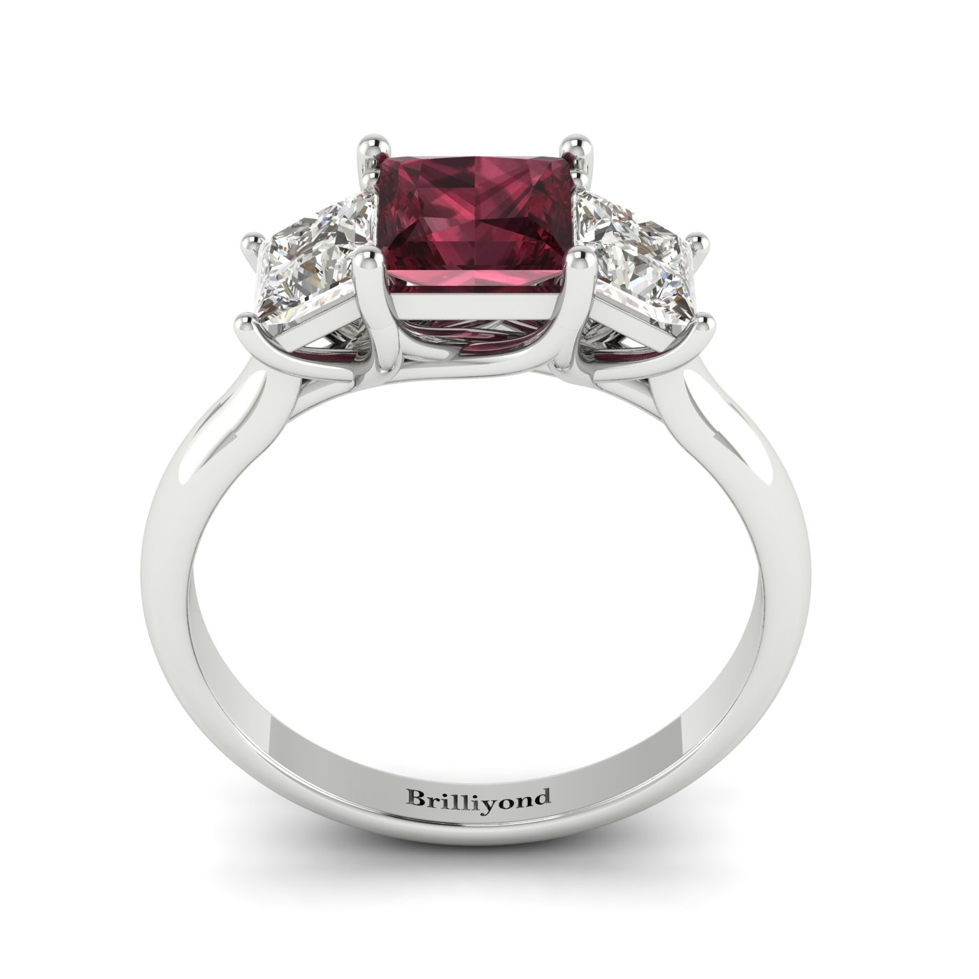 Garnet White Gold Princess Cut Engagement Ring Capri_image2