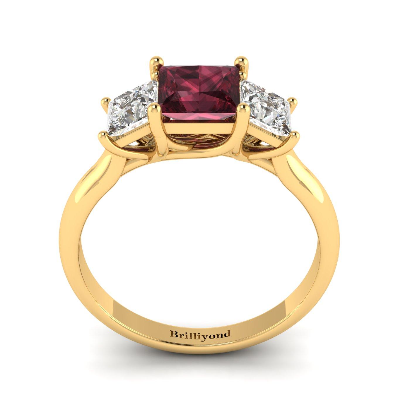 Garnet Yellow Gold Princess Cut Engagement Ring Capri_image1