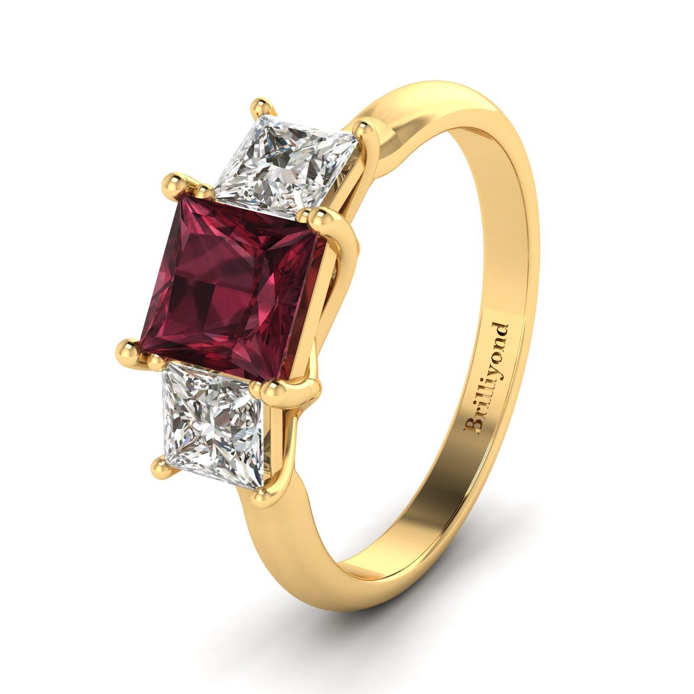 Garnet Yellow Gold Princess Cut Engagement Ring Capri_image2