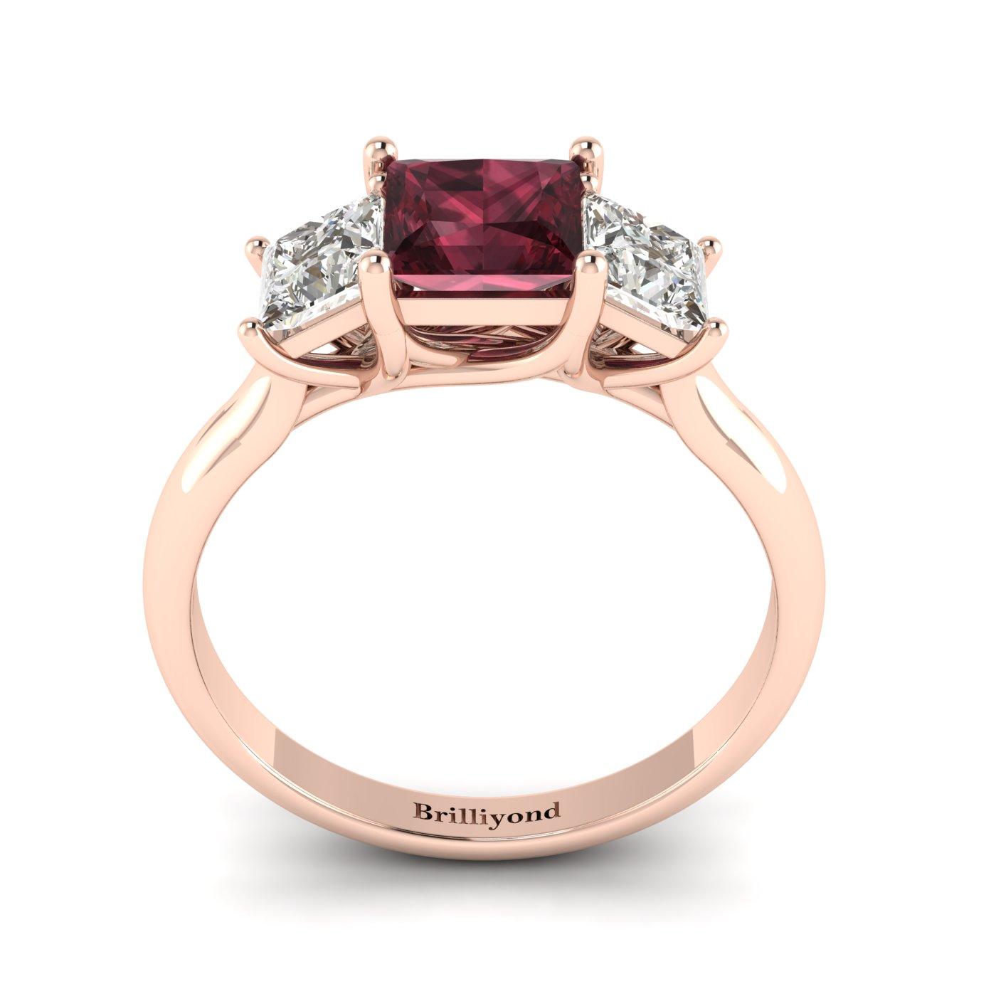 Garnet Ring Rose Gold Princess Cut Capri_image2