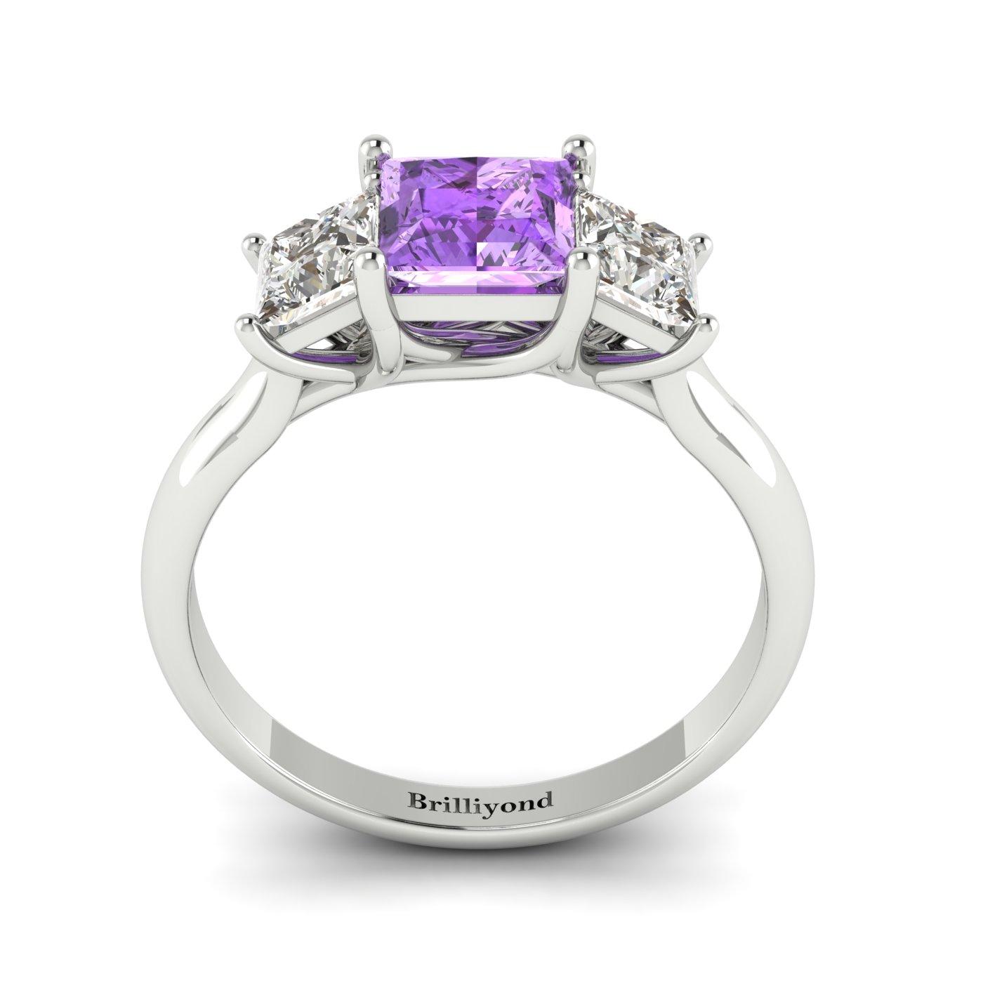Amethyst White Gold Princess Cut Engagement Ring Capri_image1