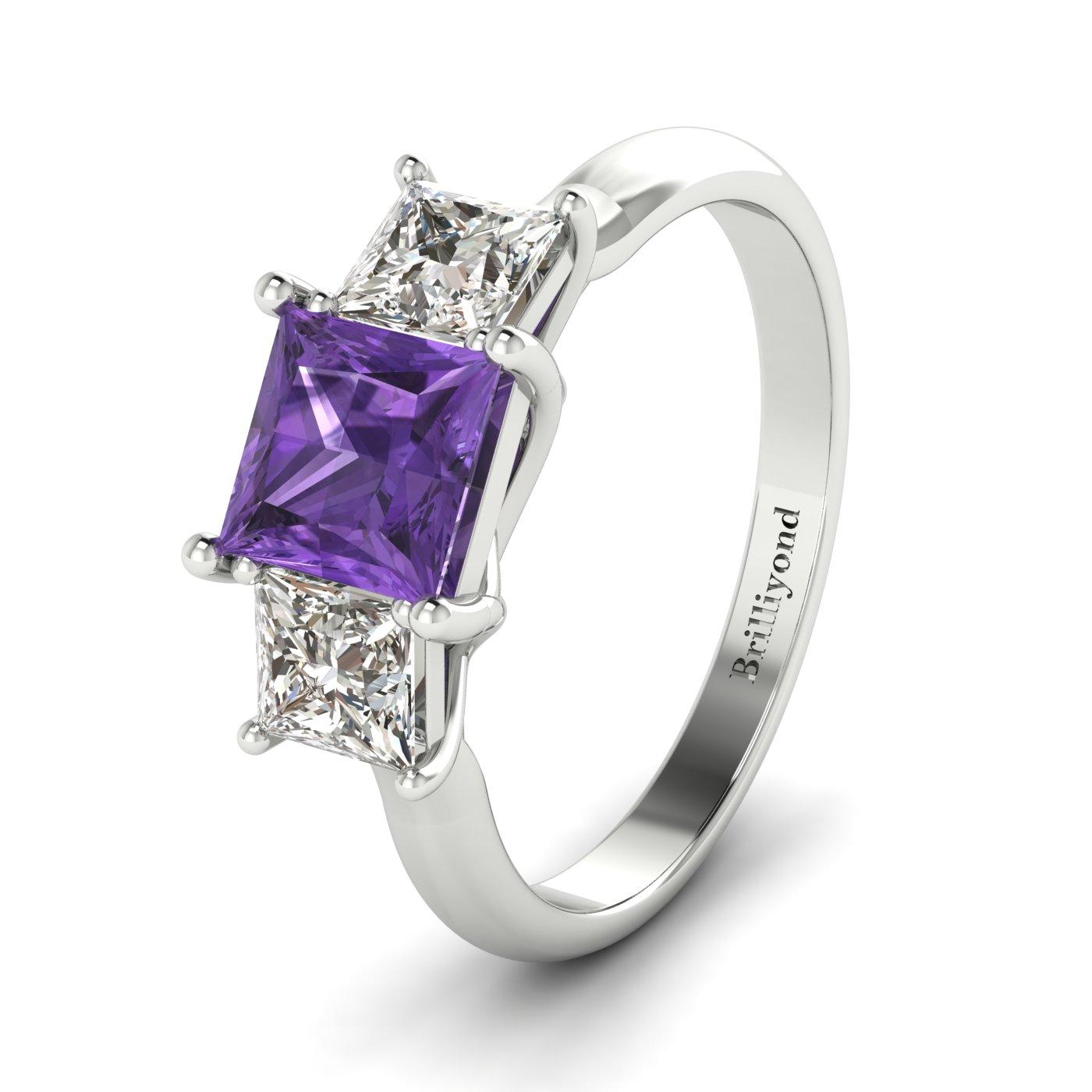 Amethyst White Gold Princess Cut Engagement Ring Capri_image2