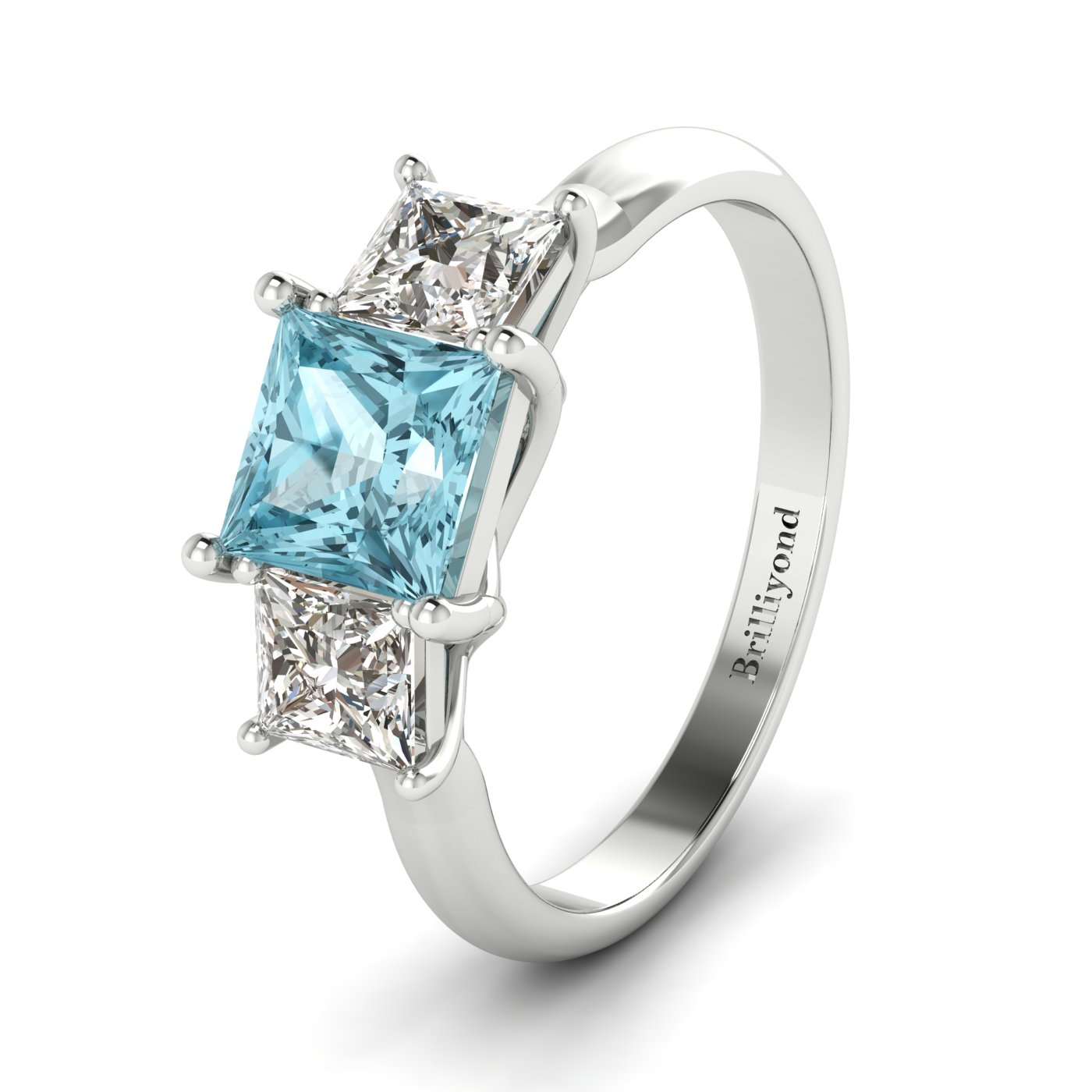 Aquamarine White Gold Princess Cut Engagement Ring Capri_image1