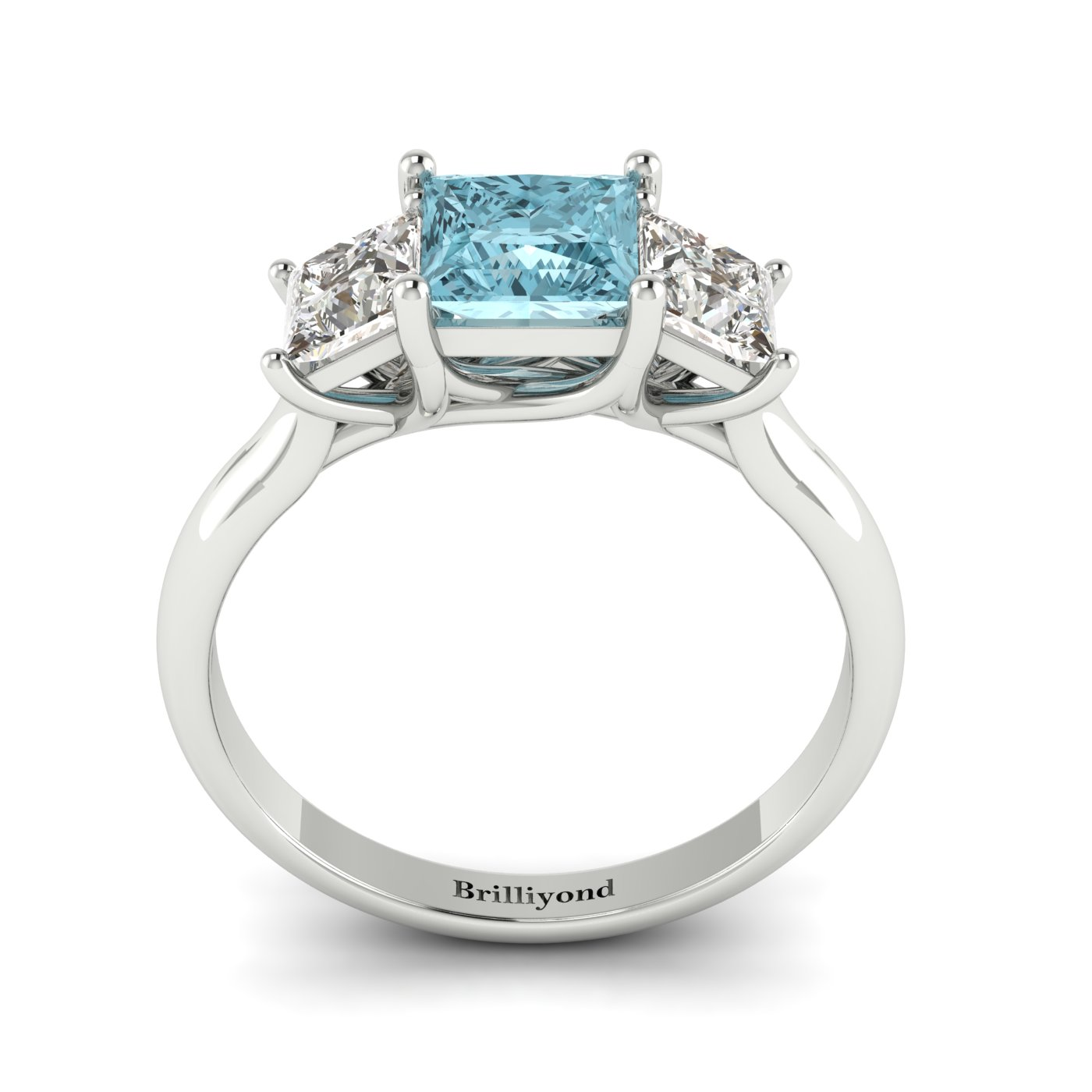 Aquamarine White Gold Princess Cut Engagement Ring Capri_image2