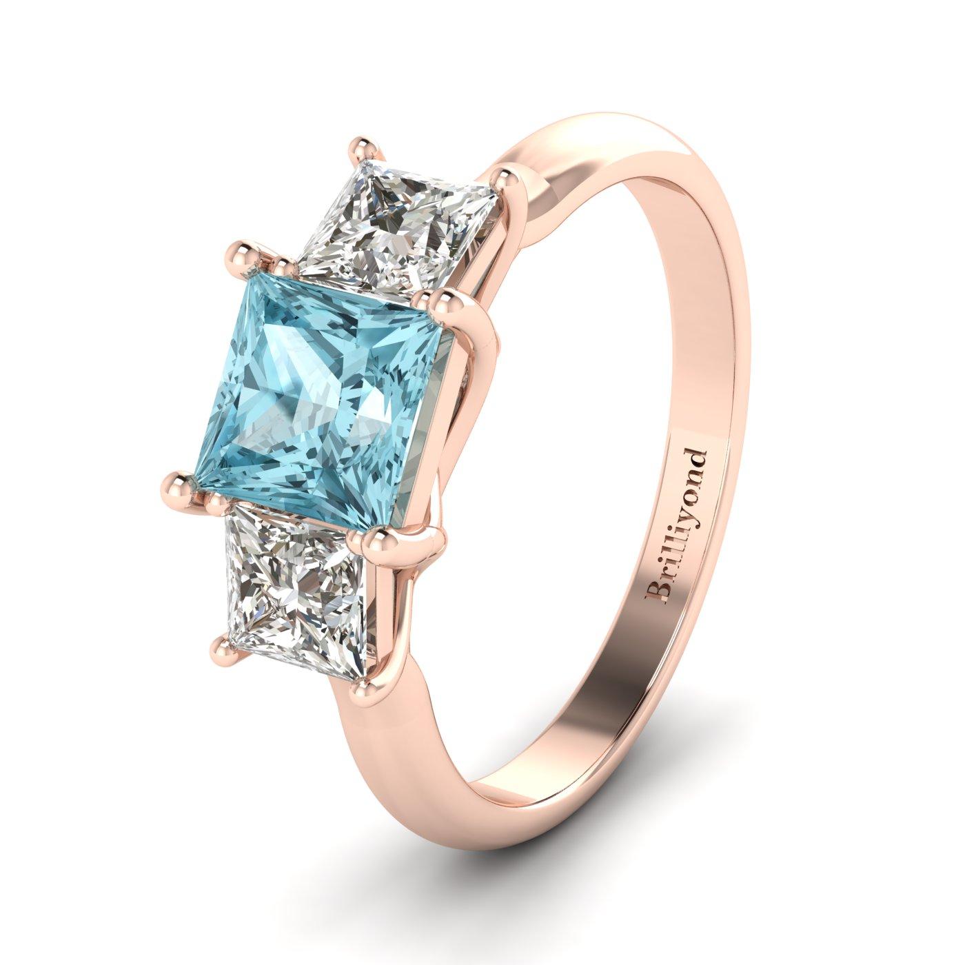 Aquamarine Rose Gold Princess Cut Engagement Ring Capri_image1