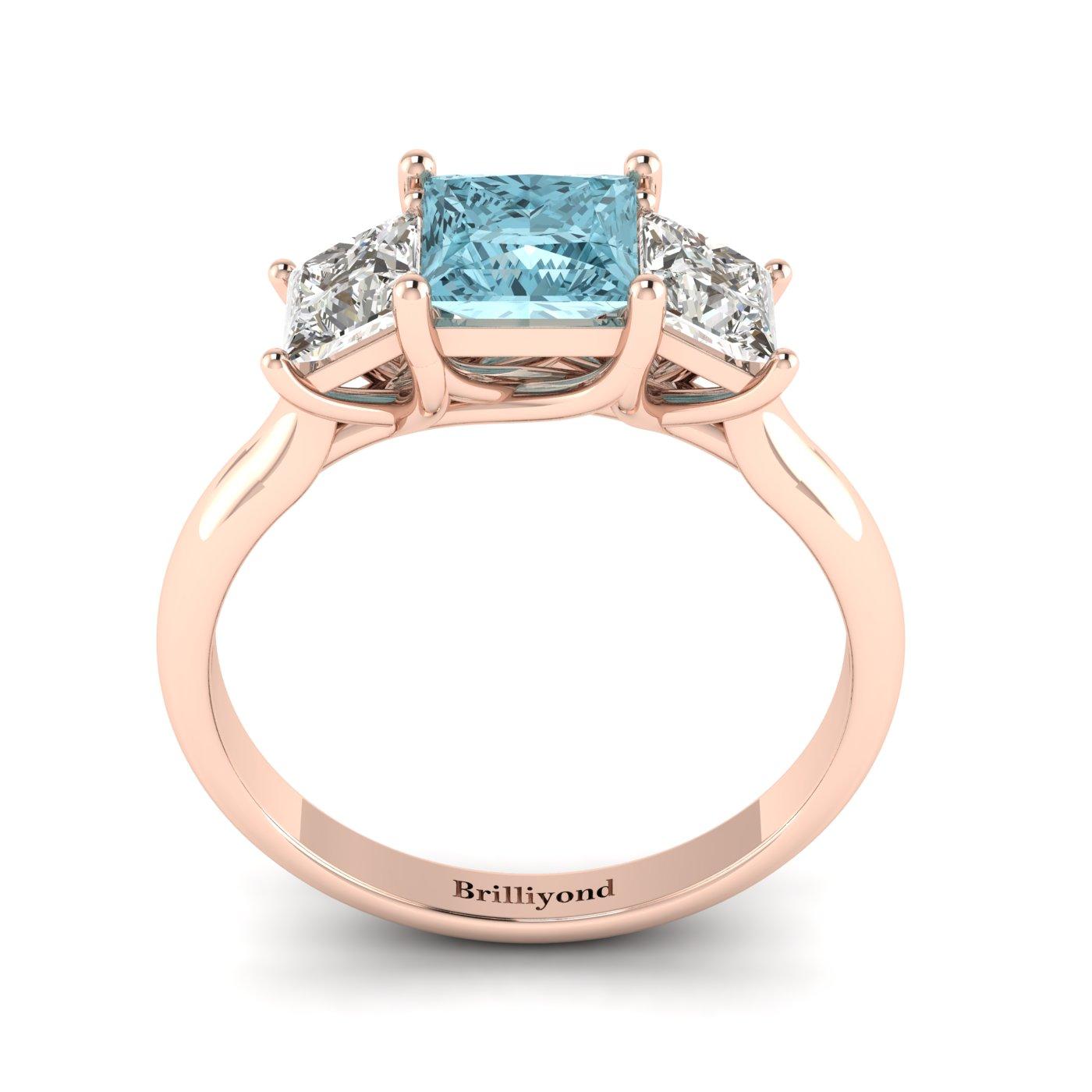 Aquamarine Rose Gold Princess Cut Engagement Ring Capri_image2