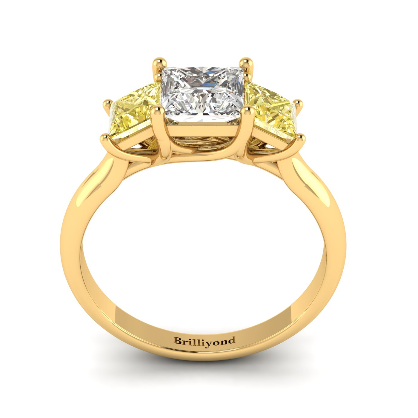 Diamond Yellow Gold Princess Cut Engagement Ring Capri_image2
