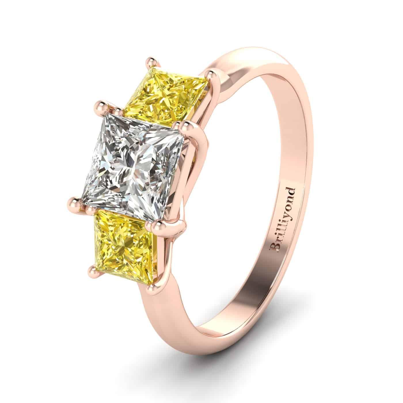Diamond Rose Gold Princess Cut Engagement Ring Capri_image2
