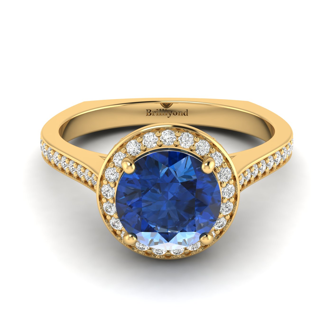 Blue Sapphire Yellow Gold Halo Engagement Ring Edelweiss_image1