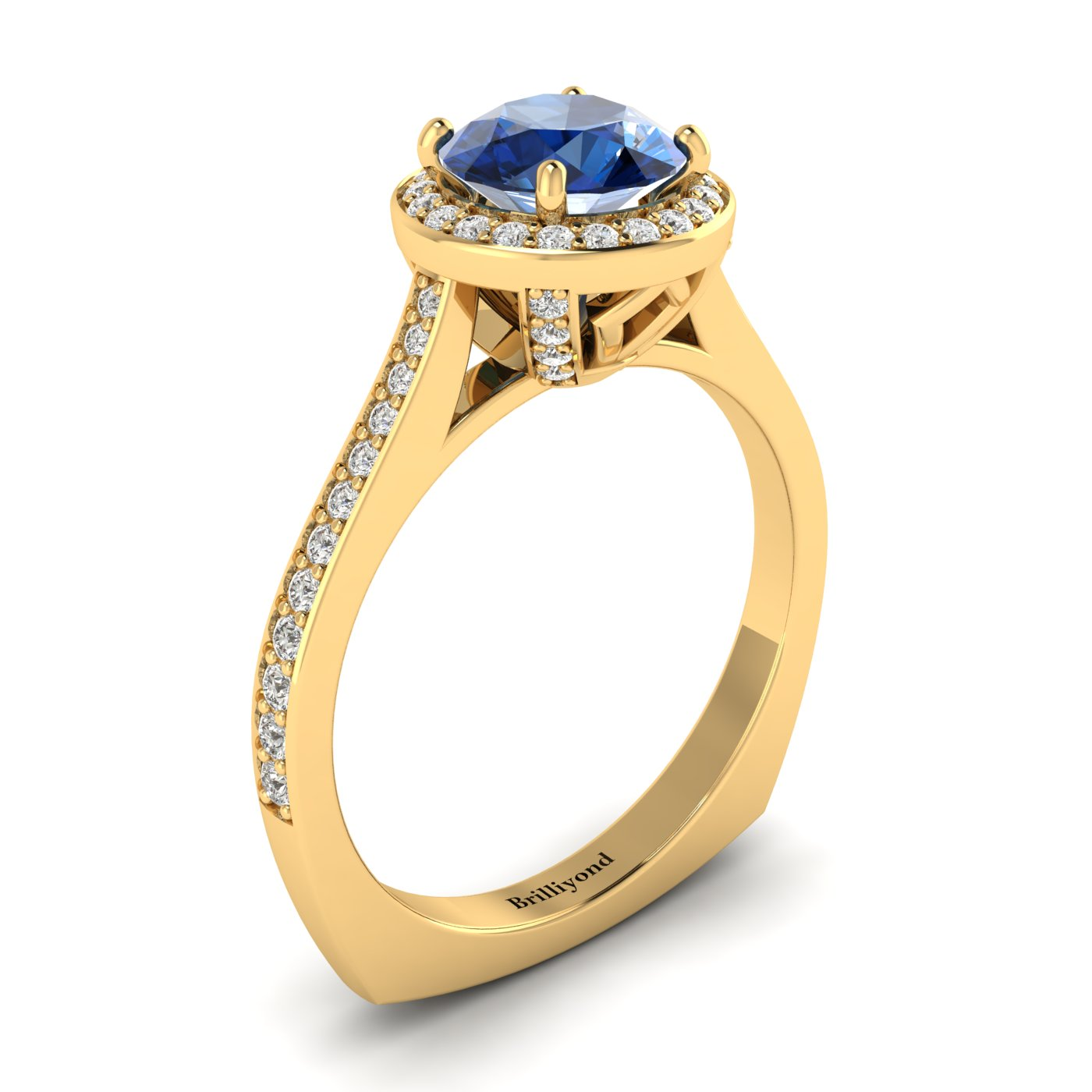 Blue Sapphire Yellow Gold Halo Engagement Ring Edelweiss_image2