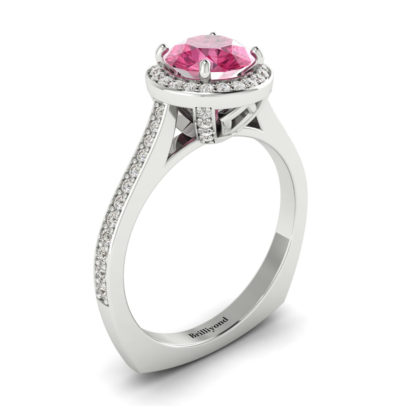 6.5mm Natural Pink Ceylon Sapphire on 18k White Gold Band
