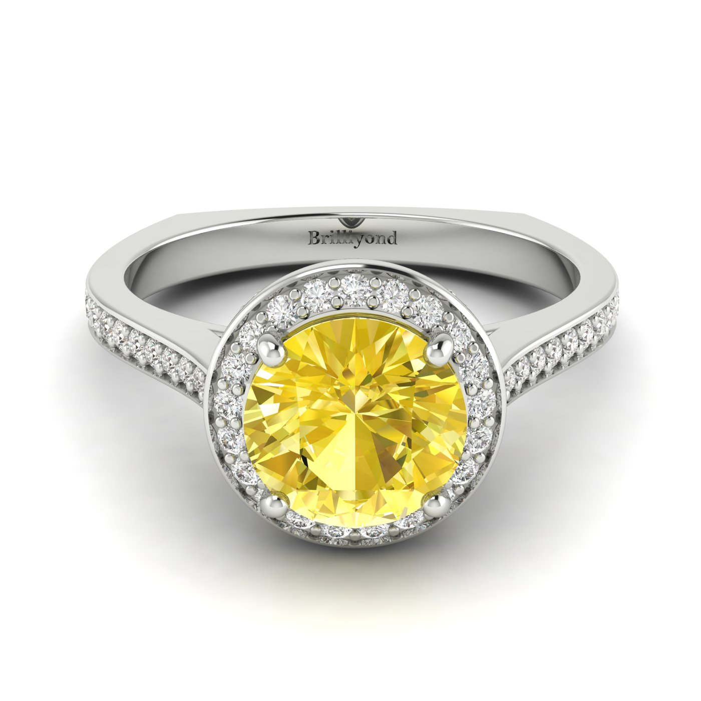 Yellow Sapphire White Gold Halo Engagement Ring Edelweiss_image1