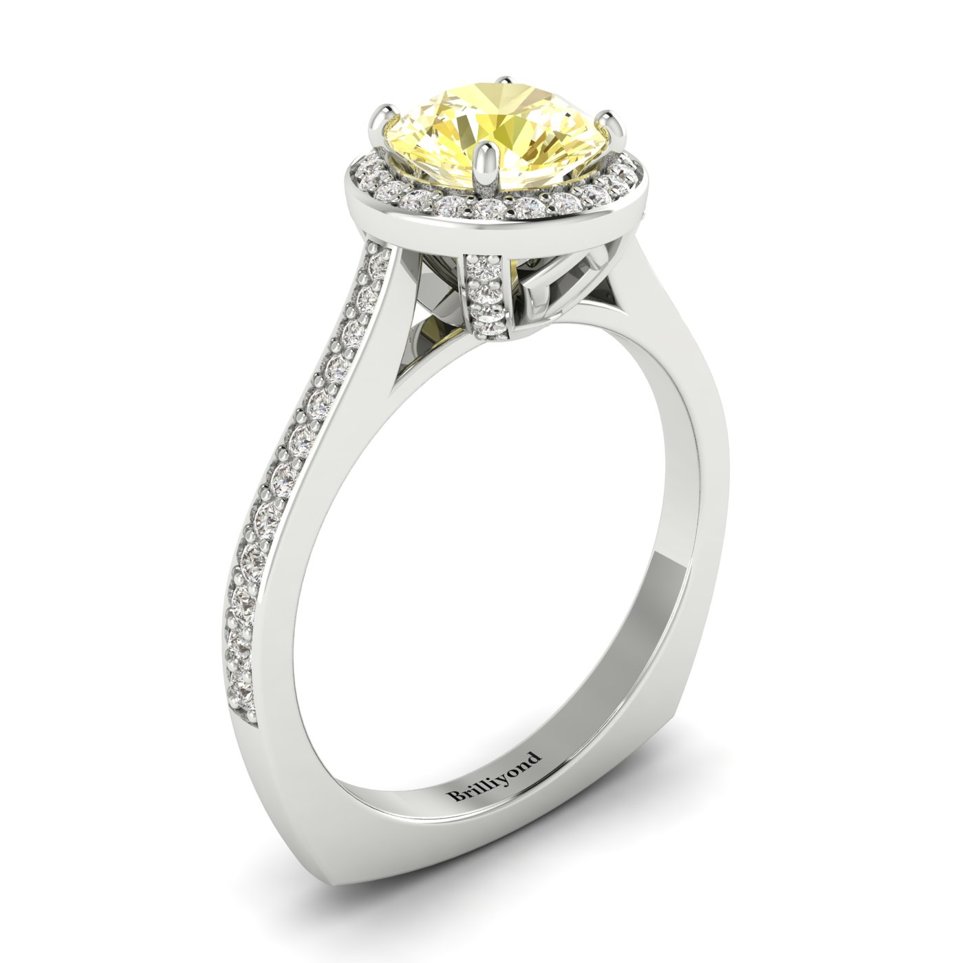 Yellow Sapphire White Gold Halo Engagement Ring Edelweiss_image2