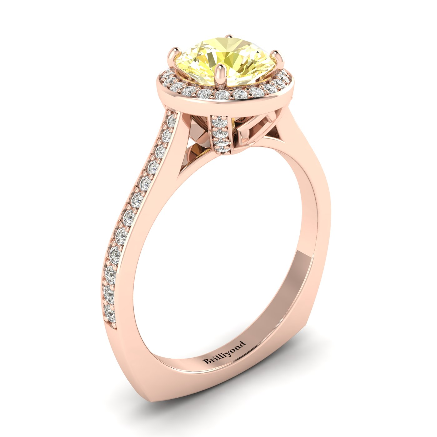Yellow Sapphire Rose Gold Halo Engagement Ring Edelweiss_image1
