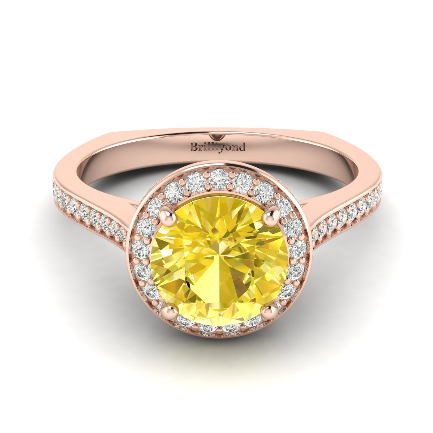 Yellow Sapphire Rose Gold Halo Engagement Ring Edelweiss_image2
