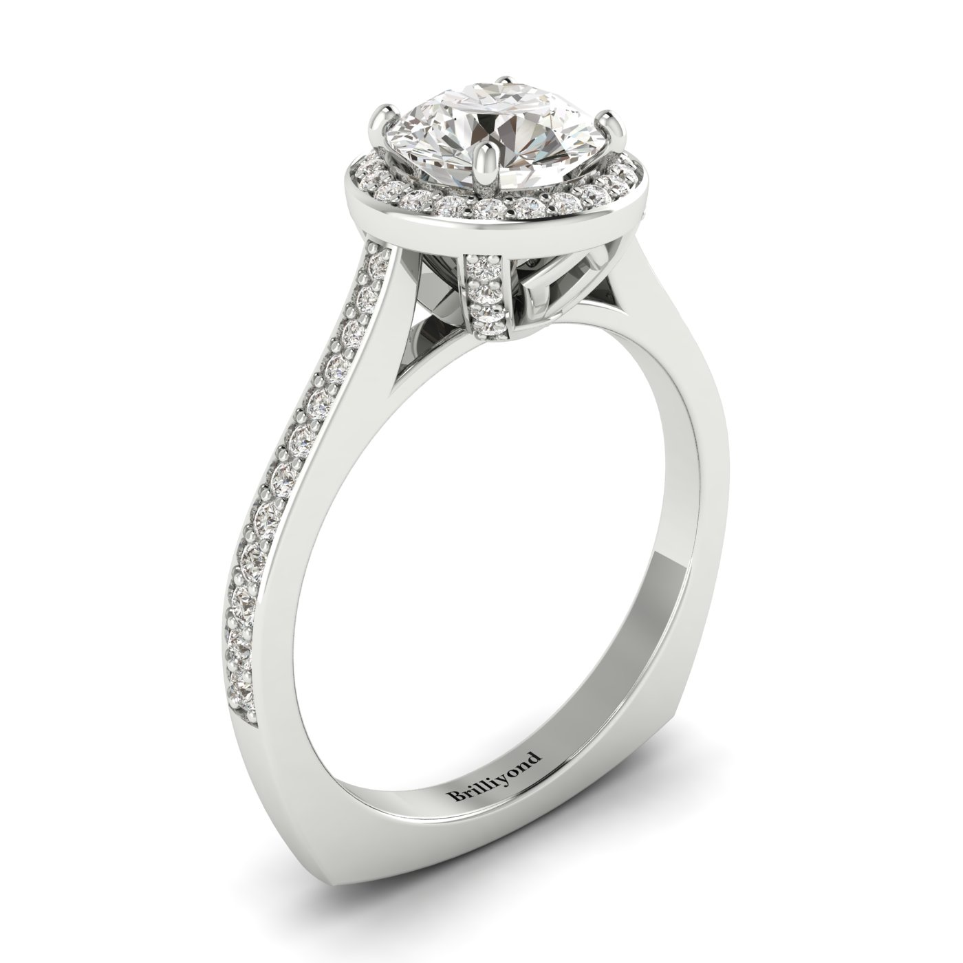 White Sapphire White Gold Halo Engagement Ring Edelweiss_image1