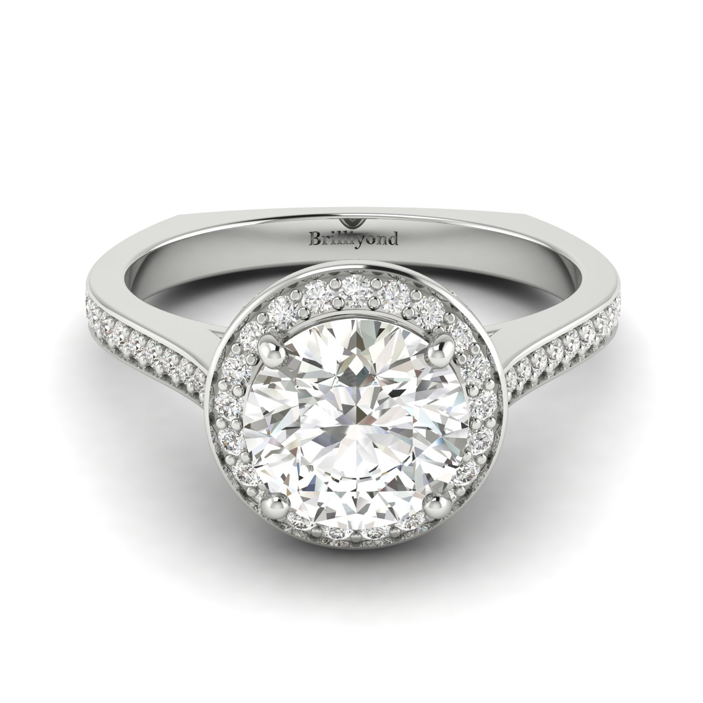 White Sapphire White Gold Halo Engagement Ring Edelweiss_image2
