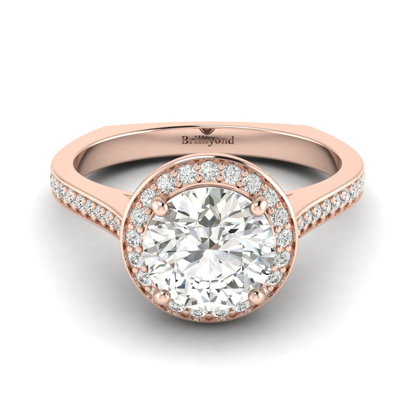 White Sapphire Rose Gold Halo Engagement Ring Edelweiss_image1