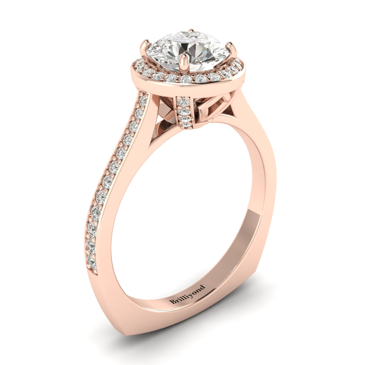 White Sapphire Rose Gold Halo Engagement Ring Edelweiss_image2