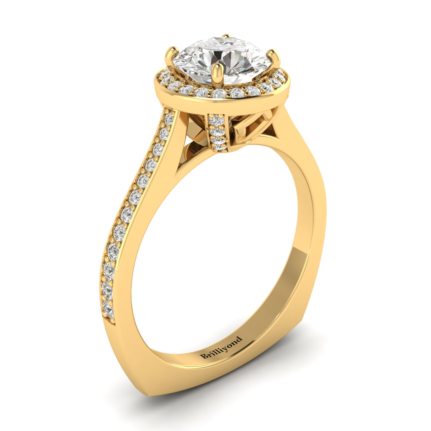 White Sapphire Yellow Gold Halo Engagement Ring Edelweiss_image1