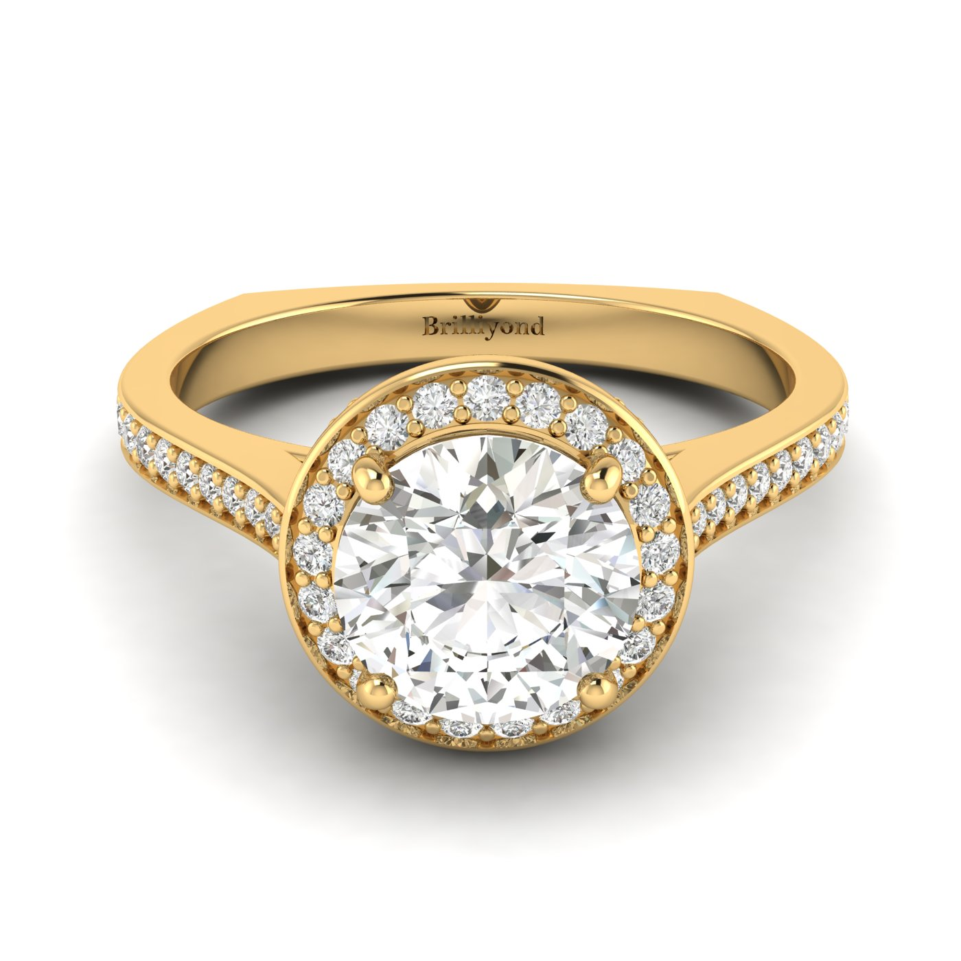 White Sapphire Yellow Gold Halo Engagement Ring Edelweiss_image2