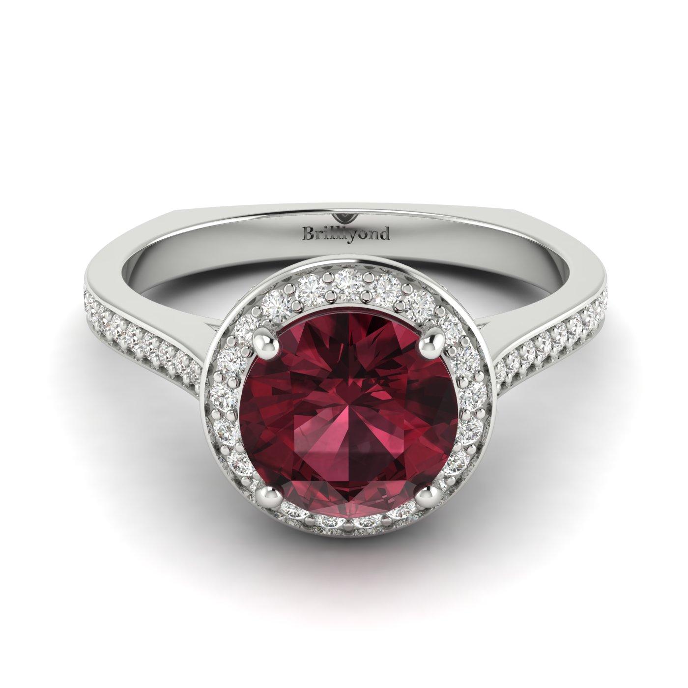 Rhodolite Garnet White Gold Halo Engagement Ring Edelweiss_image1
