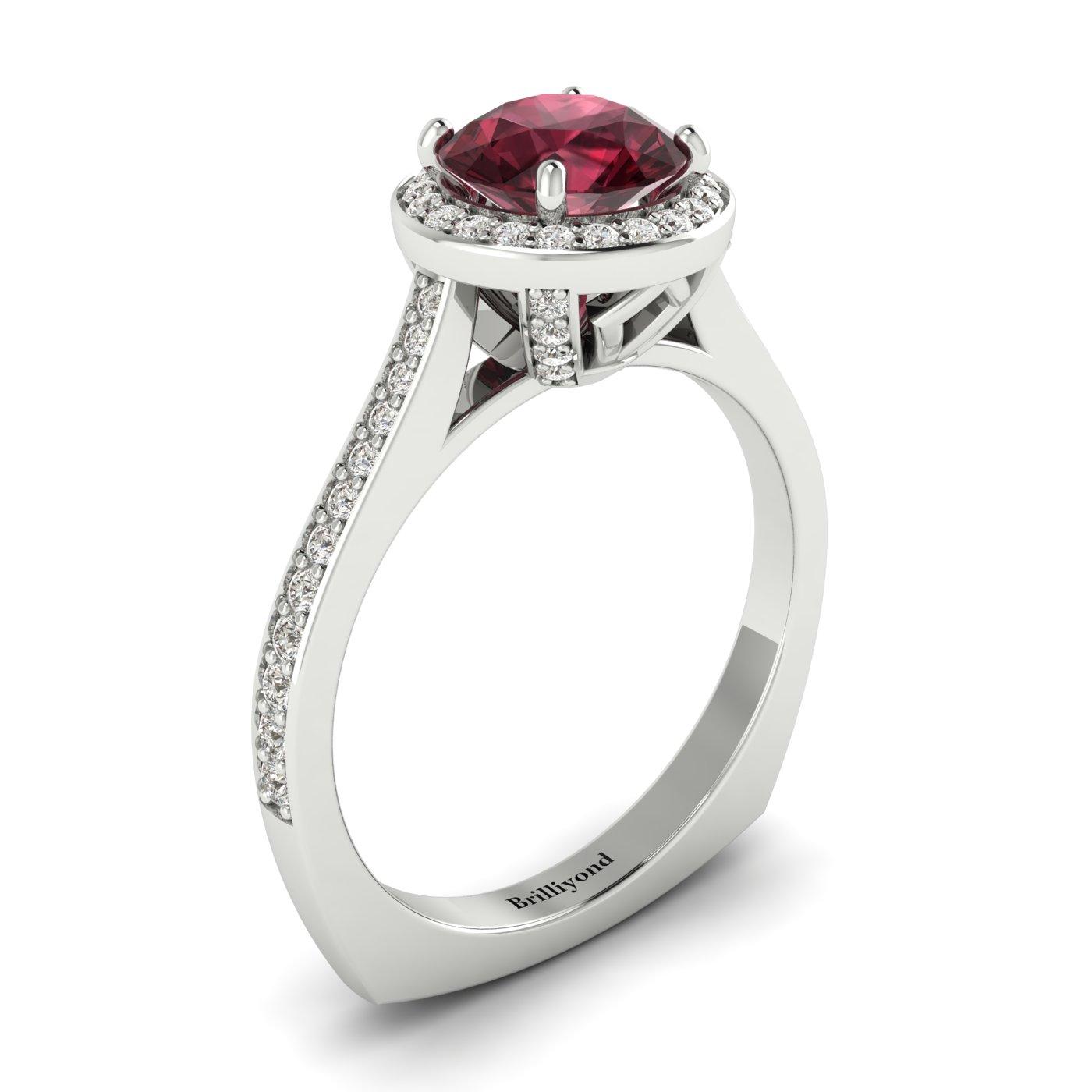 Rhodolite Garnet White Gold Halo Engagement Ring Edelweiss_image2