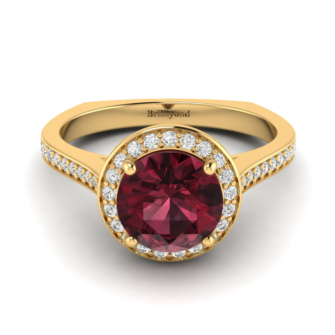 Rhodolite Garnet Yellow Gold Halo Engagement Ring Edelweiss_image1