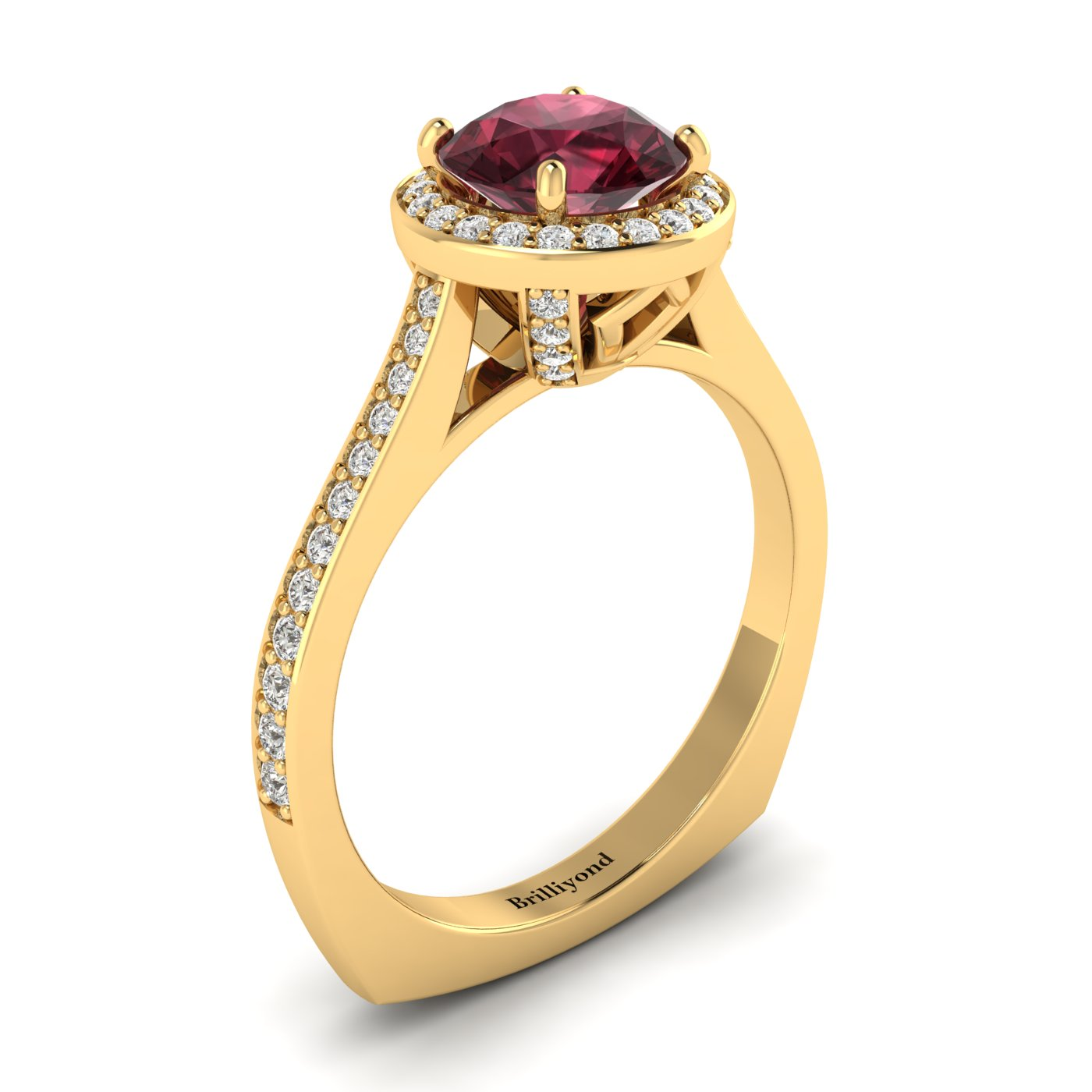 Rhodolite Garnet Yellow Gold Halo Engagement Ring Edelweiss_image2