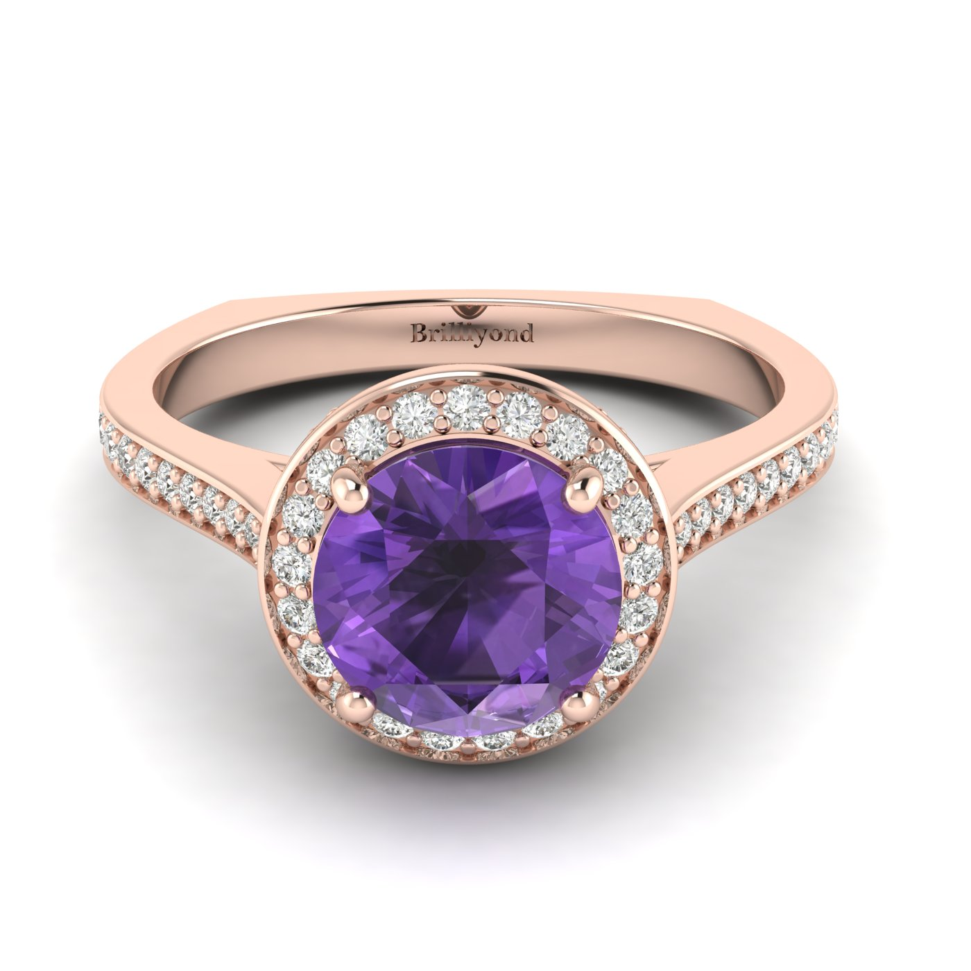 Amethyst Rose Gold Halo Engagement Ring Edelweiss_image1