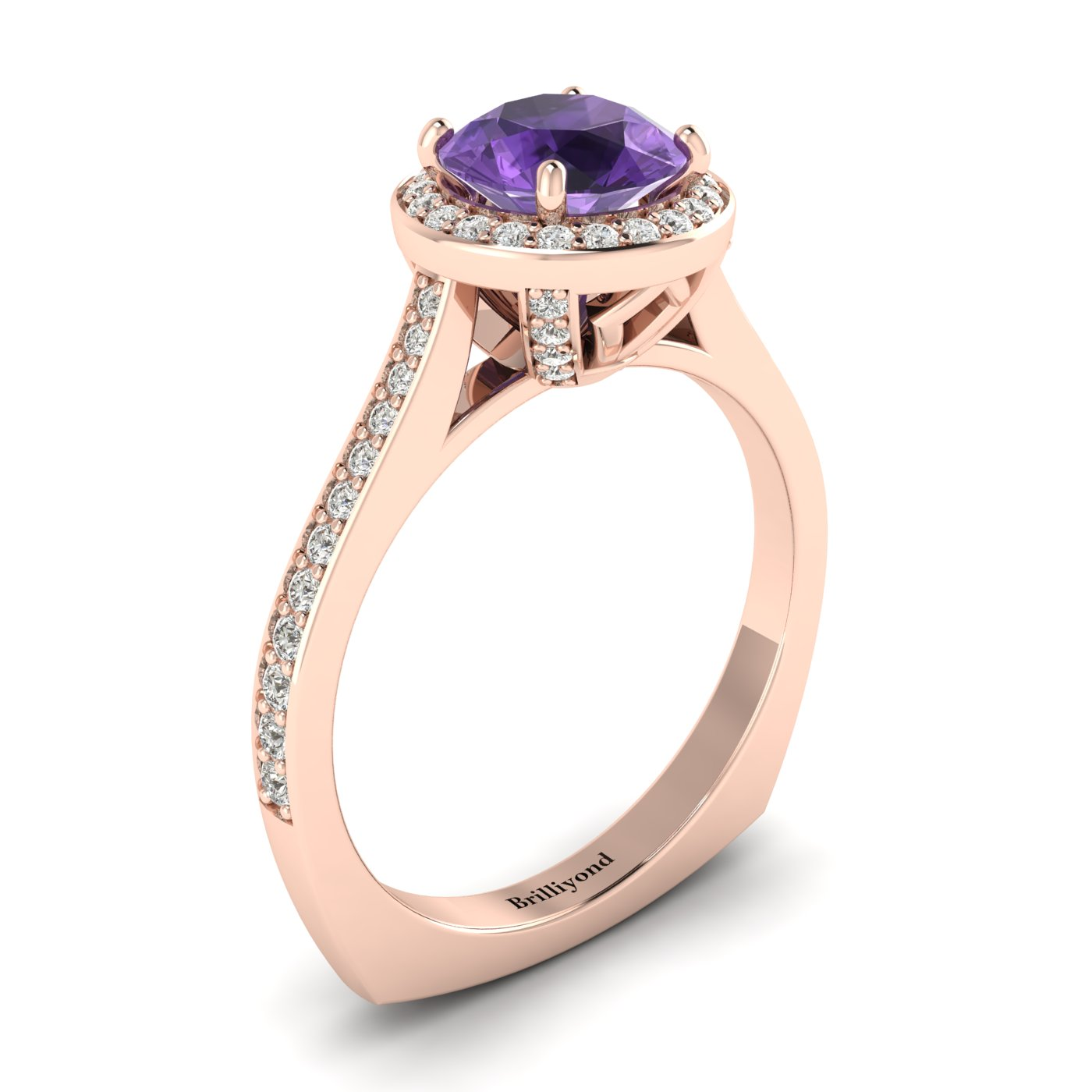 Amethyst Rose Gold Halo Engagement Ring Edelweiss_image2
