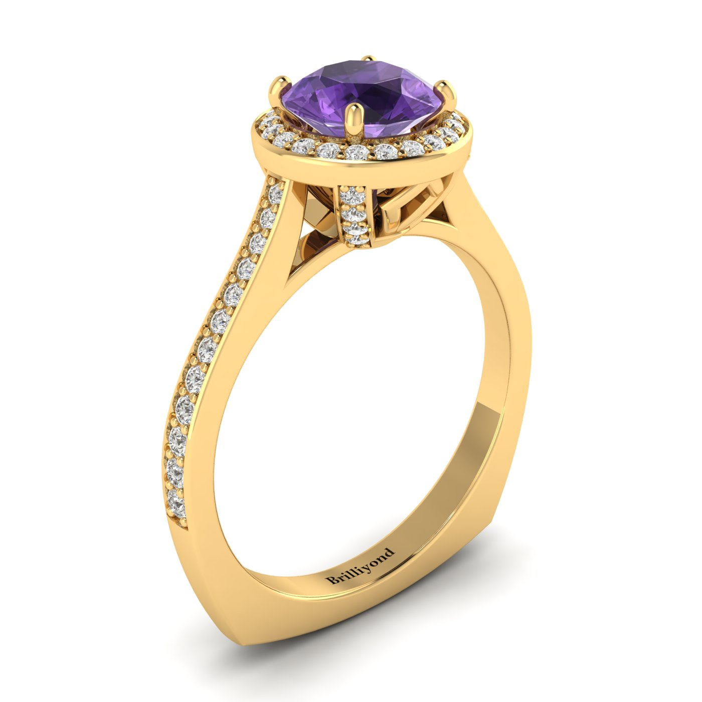 Amethyst Yellow Gold Halo Engagement Ring Edelweiss_image1