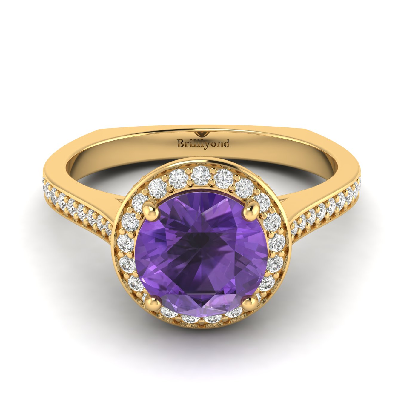 Amethyst Yellow Gold Halo Engagement Ring Edelweiss_image2