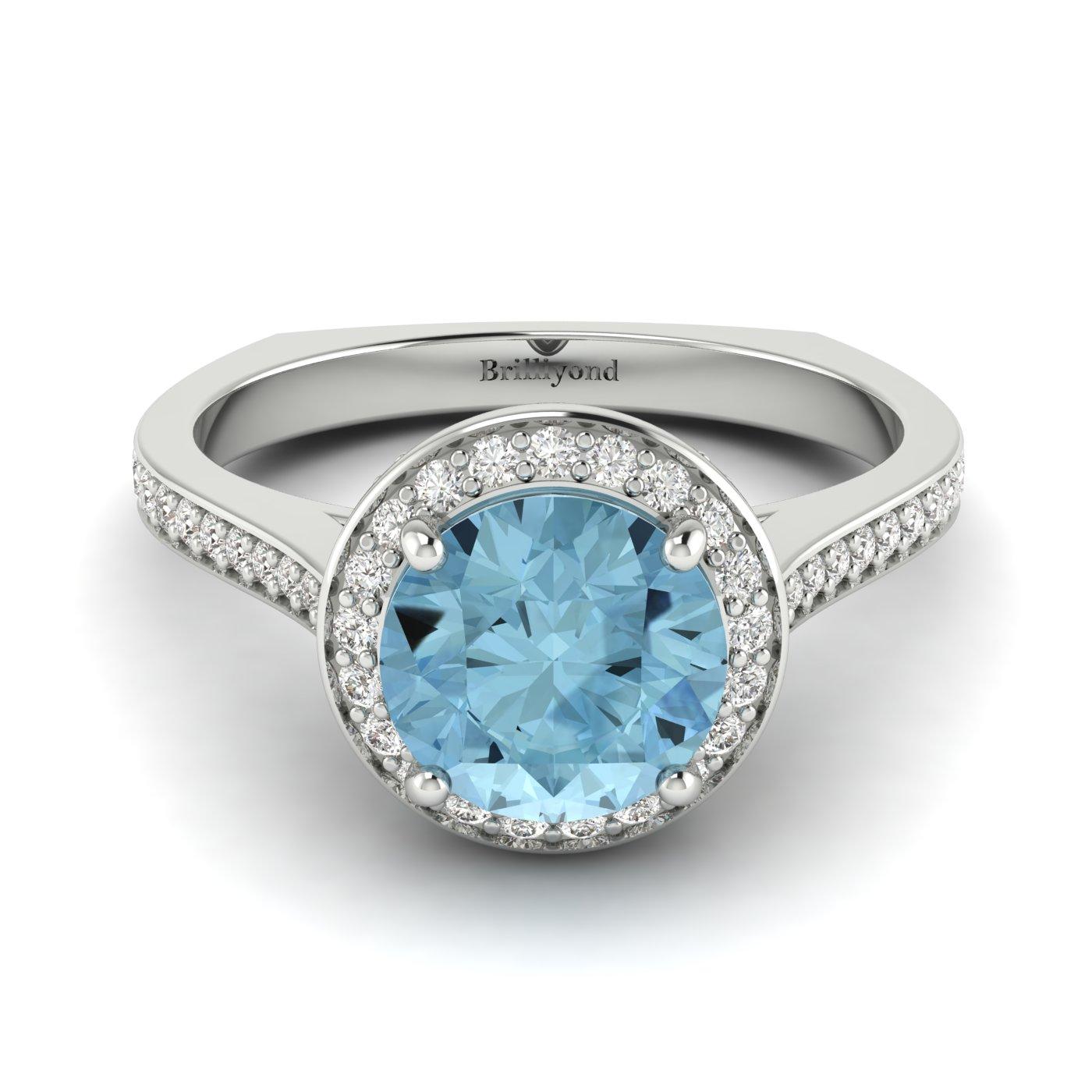 Aquamarine White Gold Halo Engagement Ring Edelweiss_image1