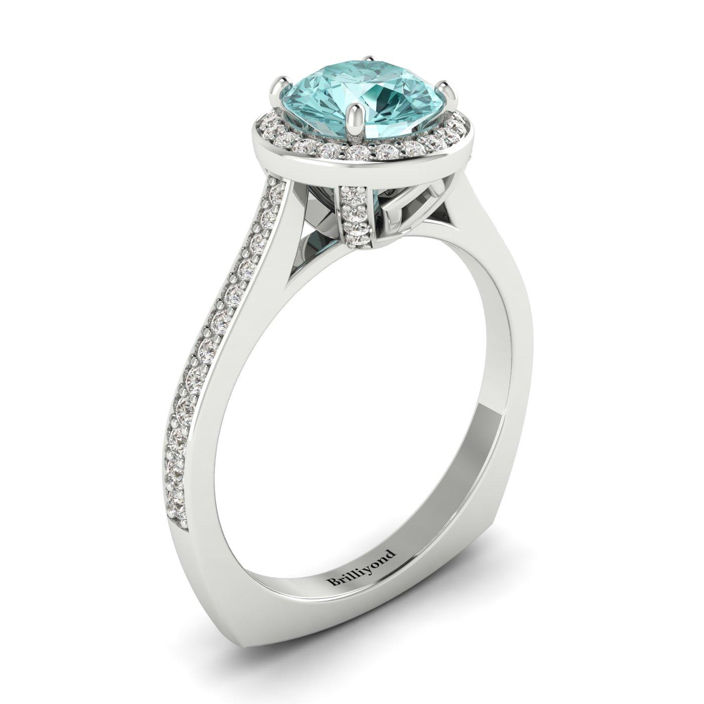 Aquamarine White Gold Halo Engagement Ring Edelweiss_image2