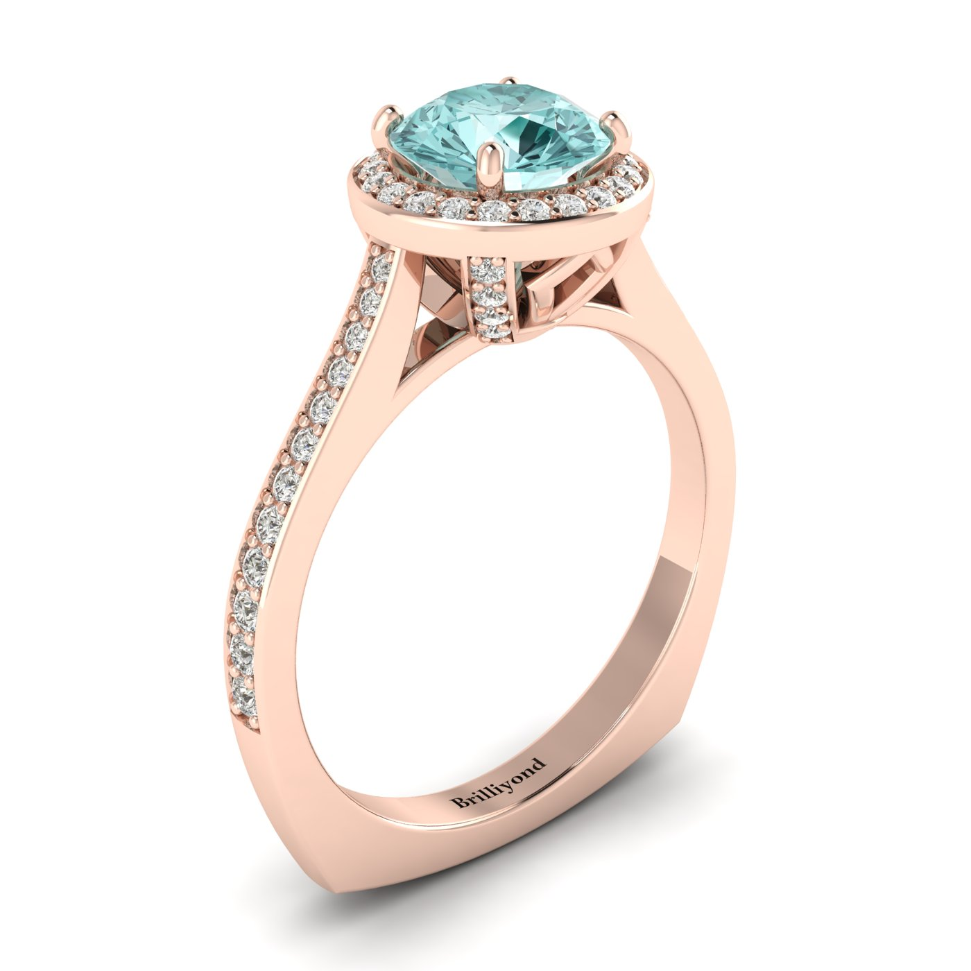 Aquamarine Rose Gold Halo Engagement Ring Edelweiss_image1