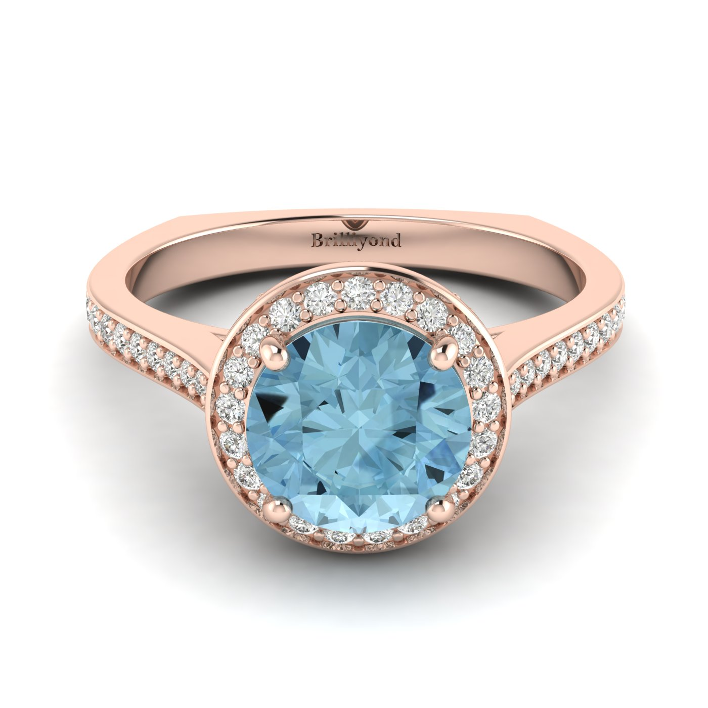 Aquamarine Rose Gold Halo Engagement Ring Edelweiss_image2