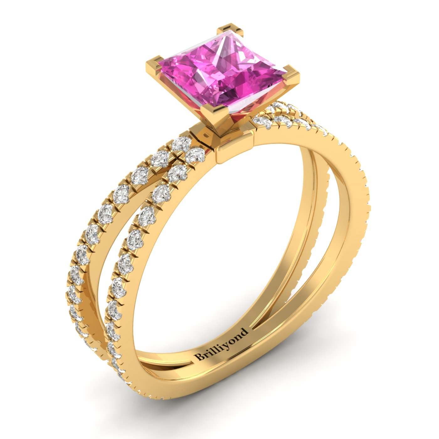 Pink Sapphire Yellow Gold Princess Cut Engagement Ring Florentine_image1